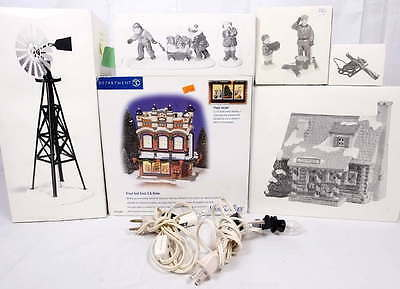 Lot Dept 56 Snow Village Pinewood Log Cabin 51500,Windmill 54563,Sled & Skis++