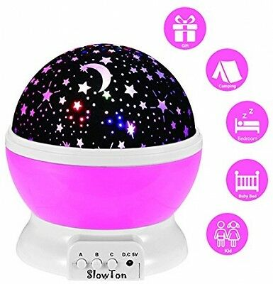Starry Night Light Lamp,SlowTon Romantic 3 Modes Colorful LED Moon Sky Star For