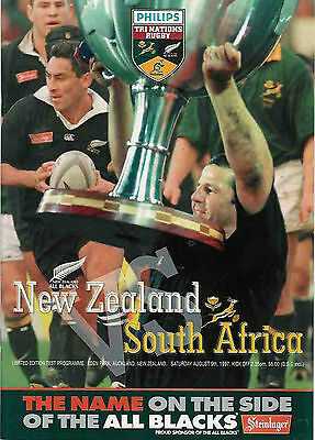 NEW ZEALAND v SOUTH AFRICA 1997 - 9 August RUGBY PROGRAMME