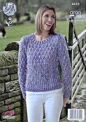 KNITTING PATTERN Ladies Long Sleeve Round Neck Cable Jumper Aran King Cole 4625