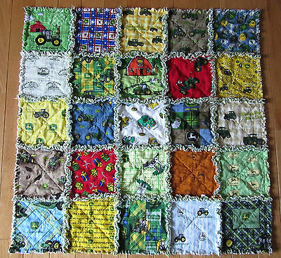 Rag Quilt Baby All Different JOHN DEERE Fabric on Front