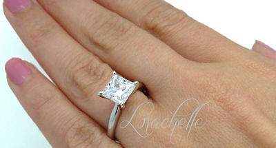 3.2 ct Princess Cut Solitaire Engagement Ring in Solid 14k White Gold Wedding