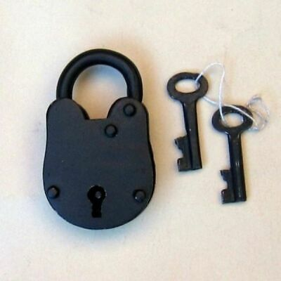 "Antique Lock Old Style With Keys 3.25""H - Padlock  - Iron Lock & Keys - Pirate"