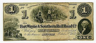 1854 $1 The Fort Wayne & Southern Rail Road Co. - Muncie, INDIANA Note