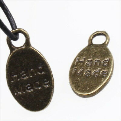 120x Hot Handmade Carfts Vintage Bronze Oval Letter Tag Charms Alloy Pendant L
