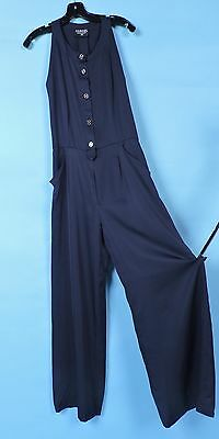 Vintage Designer Chanel Boutique Deep Navy Silk Jumpsuit Pantsuit