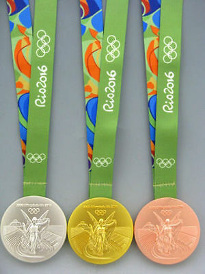 Brazil Rio 2016 Olympic Winners Gold  Silver Bronze Medal With Ribbon 100g