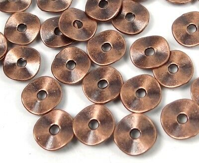 50 Antique Copper Pewter Washers Spacer Wavy beads 9mm ~ Lead-Free ~