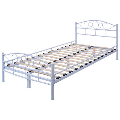 twin size wood slats steel bed frame platform headboard footboard bedroom white