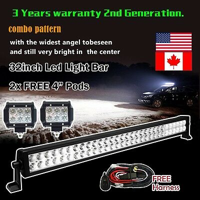 "32inch Led Work Light Bar + 2X 4"" Cree Pods Offroad Truck Ford Jeep SUV 4X4WD 30"