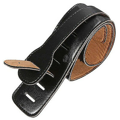 Adjustable Black Soft Leather Thick Strap for Electric Acoustic Guitar Bass New