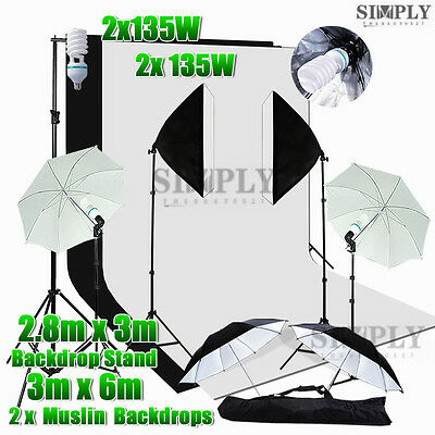 Photo Studio Softbox Light Umbrella Lighting Soft box Muslin Backdrop Stand Kit