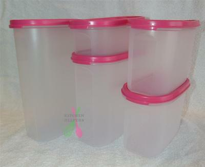 Tupperware Modular Oval Set of 5 -Sizes 1 x #1 #3 #4 ,2 x #2 -Pink Punch-New