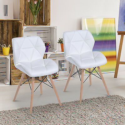 PU Leather Dining Chair Eames Style Side Chair Wood Leg Home Furniture Set of 2