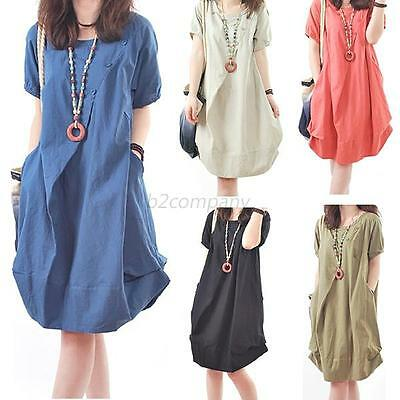 Women Ladies Maternity Loose Dress Pregnant Pregnancy Clothing Plus Clothes NEW