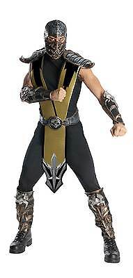Mortal Kombat Scorpion Deluxe Adult Mens Fancy Dress Costume Halloween Outfit, O