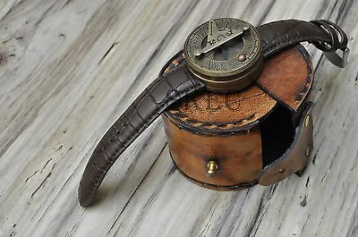 Antique Steampunk Brass Leather Wrist Sundial Compass-Watch with leather case