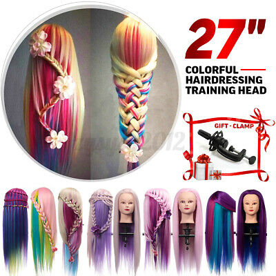 Colorful Long Hair Model Hairdressing Practice Training Head Mannequin Clamp UK