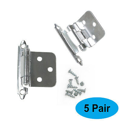 5 Pairs Flush Mount Self Closing Door Hinges Polished Chrome Cabinet/Cupboard
