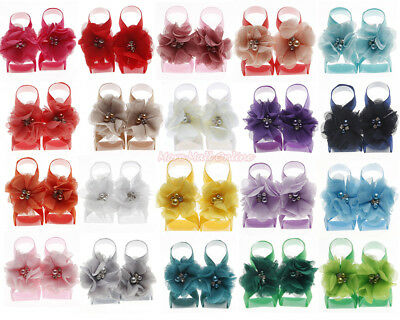 Baby Girl Flower Bloom Barefoot Sandals Shoe Infant Chiffon Foot Band Photo Prop