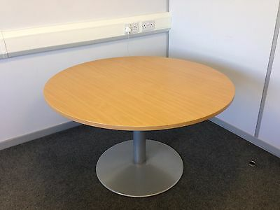 Round Office/Meeting Beech Table with adjustable trumpet base (Item #9)