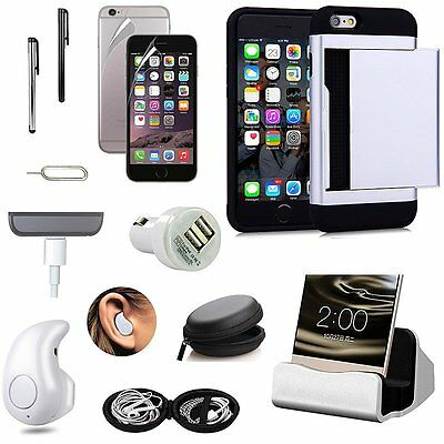 Wallet Case Charger Bluetooth Wireless Earphones Accessory For iPhone 7 Plus