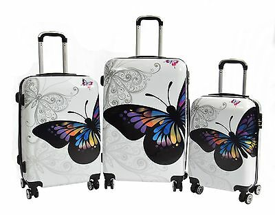 Suitcase Travel Luggage Bags 4 Wheels Strong ABS Butterfly Print Lightweight