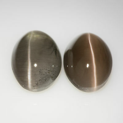 2.47 tcw Pair Cat's eye Sillimanites Oval cut 7x5mm Natural grey gemstones