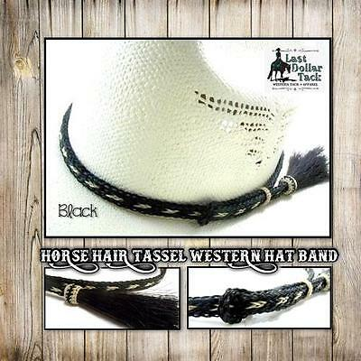 Western Hat Band Braided Horse Hair With Tassel ~ Outstanding Design ~ Black