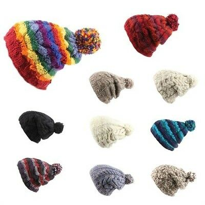 36663b1ab0a Bobble Beanie Hat Wool Baggy Slouch Cable knit Men Ladies Warm Winter Fleece