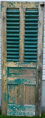 Old Vtg Antique Architectural Wood Fixed Louver Railroad Depot Entry Door
