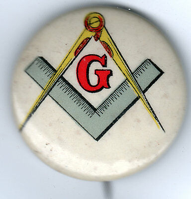 "Vintage Colorful Celluloid MASONS Compass ""G"" Pin"