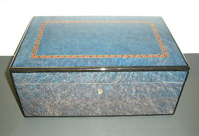 Dunhill Blue Lacquered Wood Humidor Made In France Elie Bleu Quality
