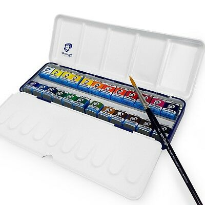 Royal Talens - Van Gogh Water Colour - Metal Box of 24 Paints & Brush