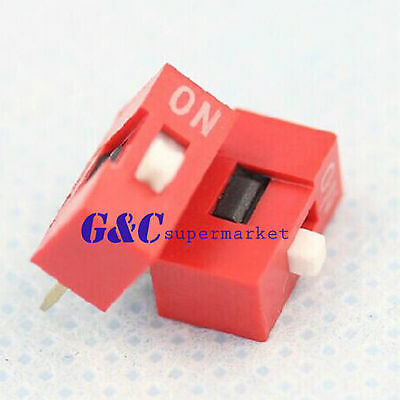 20/50PCS Red 2.54mm Pitch 1-Bit 1 Positions Ways Slide Type DIP Switch J10