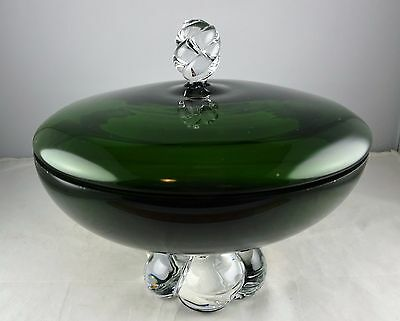 Lidded Green Candy Dish - Clear Finial and Base