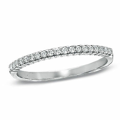 0.5 ct Thin Pave Eternity Wedding Engagement Band Ring in Solid 14k White Gold