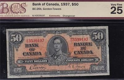 1937 Bank of Canada Fifty Dollars - CH BC-26b - BCS VF25 - S/N: B/H3539197