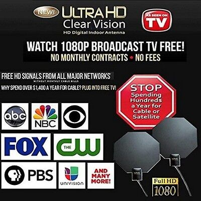 As Seen on TV UHD-12 Ultra HD Clear Vision Antenna, 60 Mile Range channels NEW