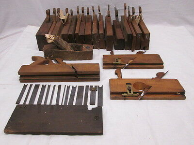 20 Old Wood Antique Primitive Hand Planes & 14 Blades w/Case Greenfield & Others