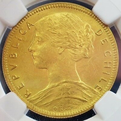 1916 So Gold Chile 20 Pesos Coin Ngc Mint State 62 Santiago Mint