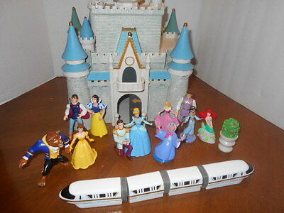 Disney World Cinderella Castle Play Set w Huge Lot of Accessories Plus Monorail