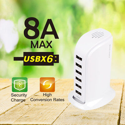 40W Multi 6 USB Port Desktop Charger Rapid Tower Charging Station Power Adapter