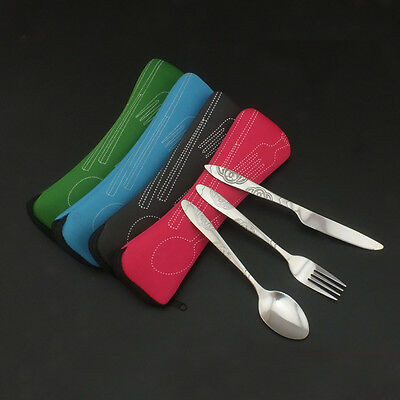 3 Piece (Knife, Fork, Spoon) Stainless Steel Camping Travel Cutlery Set