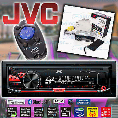 Jvc Kd-X330Bt Car Stereo Din Size Bluetooth Usb Ipod Iphone Android Mechless New