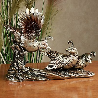 Rustic Lodge Decor Antique Gold Quails Roost Resin Table Sculpture Home Display