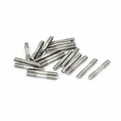M3x20mm 304 Stainless Steel Double End Threaded Stud Screw Bolt 20pcs