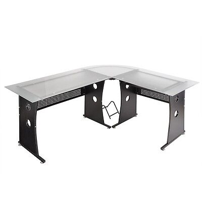 Tempered Frosted Glass Corner Computer Desk L Shape PC Laptop Table Home Office