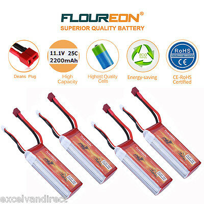 4x 3S 25C 11.1V 2200mAh Li-Po Battery Deans for RC Helicopter Airplane Car Hobby