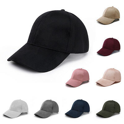Unisex Faux Leather Suede Fitted Baseball Hat Adjustable Trucker Sport Cap Visor